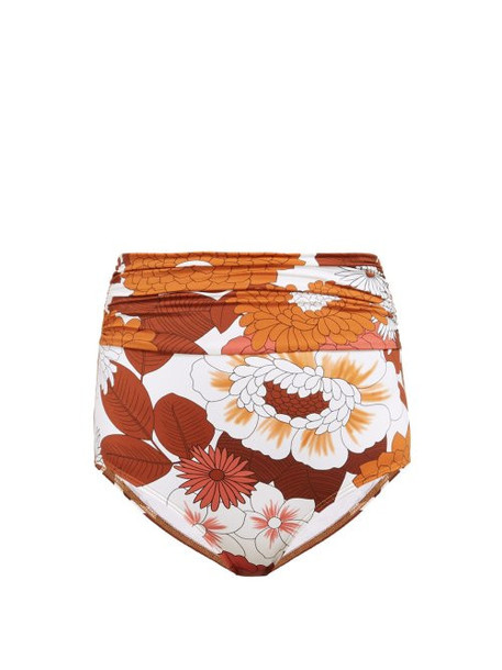 Dodo Bar Or - Rachelle High Rise Floral Print Bikini Briefs - Womens - Brown Print