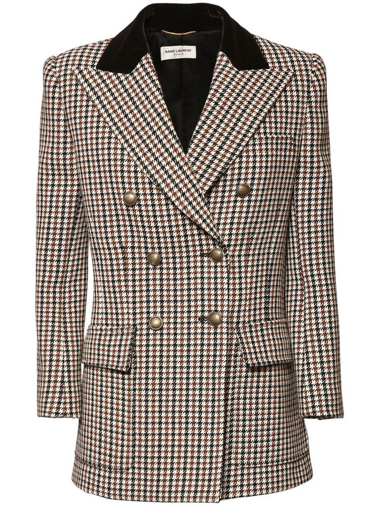 SAINT LAURENT Houndstooth Wool Double Breast Jacket in brown / beige