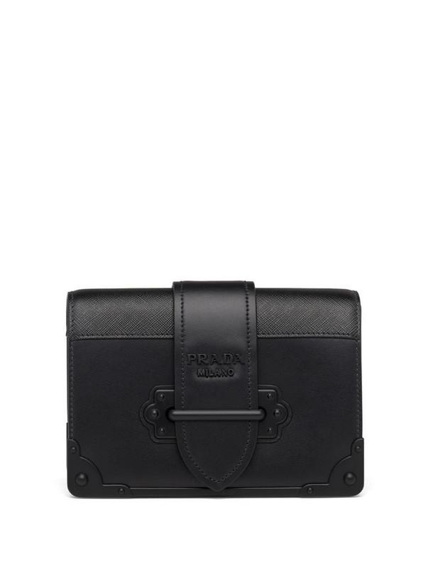 Prada leather Cahier shoulder bag in black