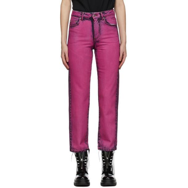 MSGM Fuchsia Overdye Jeans