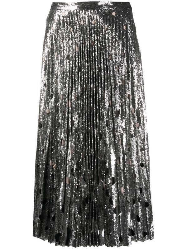 Marco De Vincenzo silk pleated flared midi skirt in silver