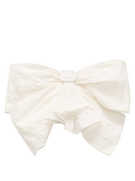 The Attico - Bow-front Strapless Cotton-blend Cloqué Top - Womens - White