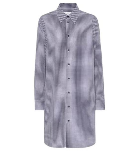 Maison Margiela Checked cotton shirt dress in purple