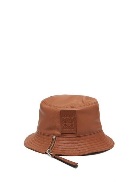 Loewe - Fisherman Leather Bucket Hat - Womens - Tan