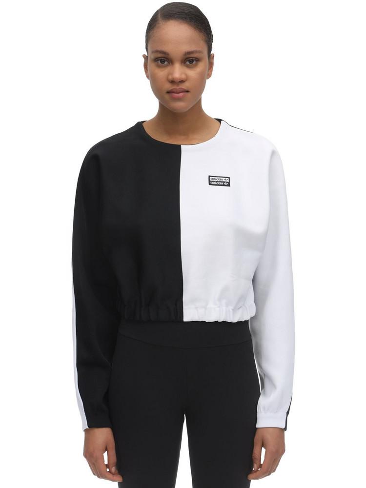 ADIDAS ORIGINALS Cropped Bi-color Sweatshirt in black / white