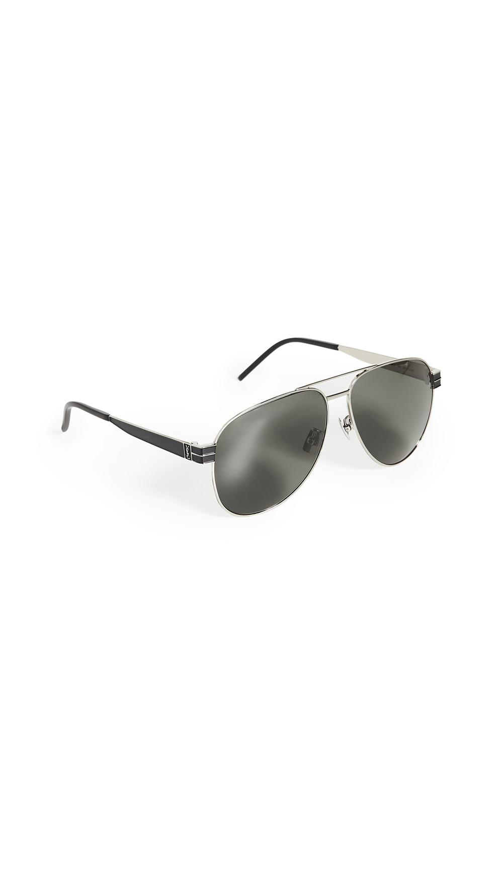 Saint Laurent Pilot Aviator Sunglasses in grey / silver