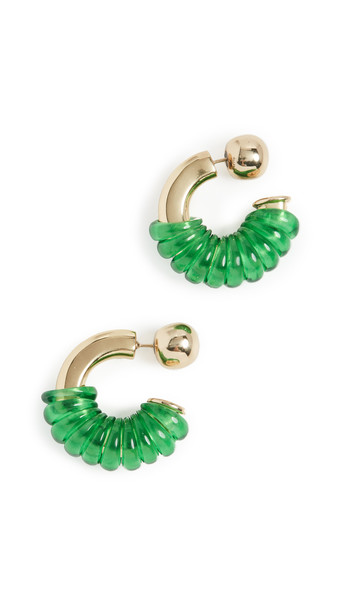 Ellery Gertrude Jumpring Earrings in gold / green
