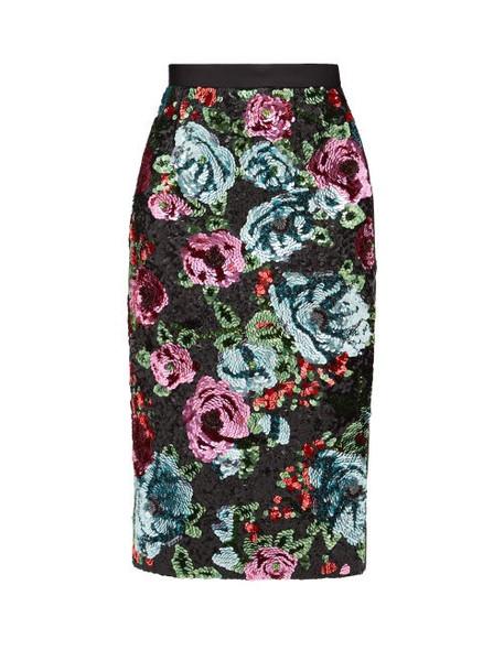 Erdem - Dencia Sequinned Florals Satin Skirt - Womens - Pink Multi