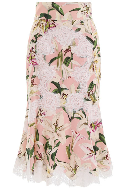 Dolce & Gabbana Pencil Skirt With Lace in pink