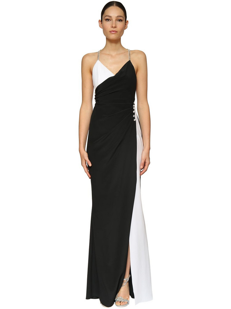 AZZARO Light Crepe Long Dress W/ Crystals in black / white