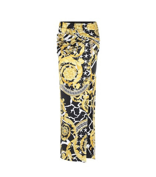 Versace Printed jersey maxi skirt in yellow