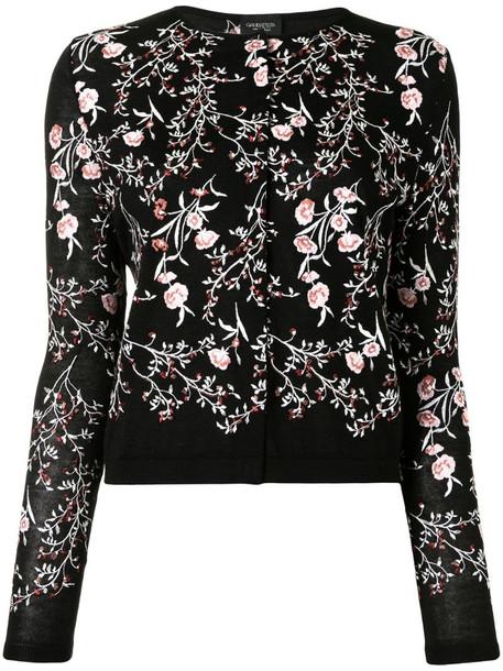 Giambattista Valli floral-embroidered cardigan in black
