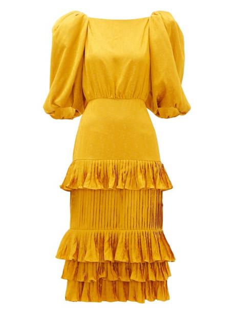 Johanna Ortiz - Isolated Treasure Puff Sleeve Satin Dress - Womens - Yellow