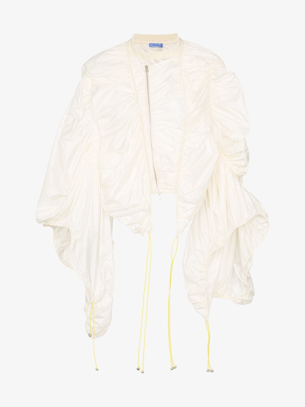 Mugler High-neck exaggerated sleeve zip-up jacket in white