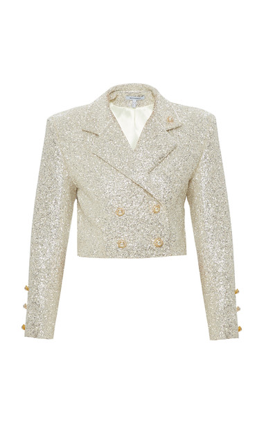 Mach & Mach Glitter Jacket With Pearl Buttons in white