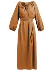 dress,midi dress,midi,cotton,brown