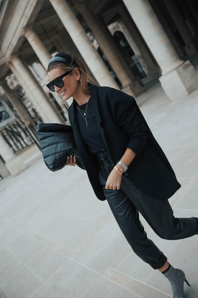 b a r t a b a c blogger jacket pants t-shirt shoes bag all black everything blazer leather pants