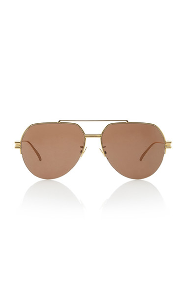 Bottega Veneta Oversized Aviator Gold-Tone Sunglasses in brown