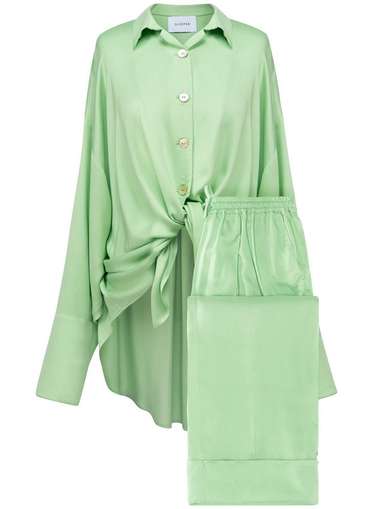 SLEEPER Satin Viscose Pajama Set in green