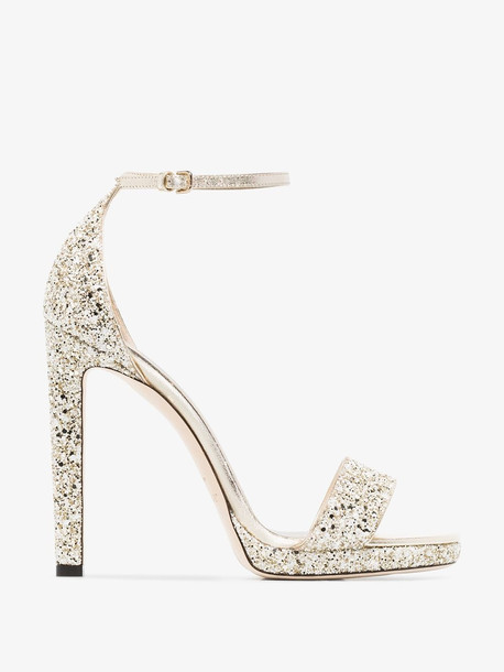 Jimmy Choo gold tone Misty 85 leather sandals