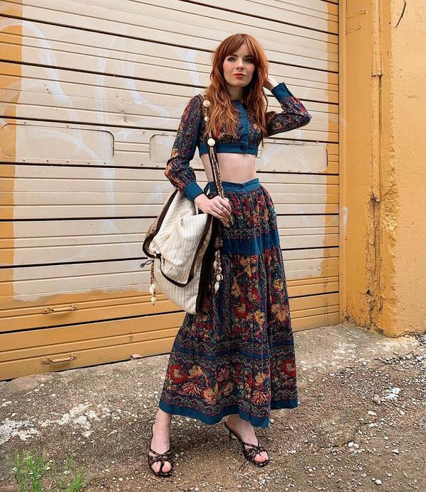 skirt maxi skirt floral skirt crop tops set sandals zara shoulder bag