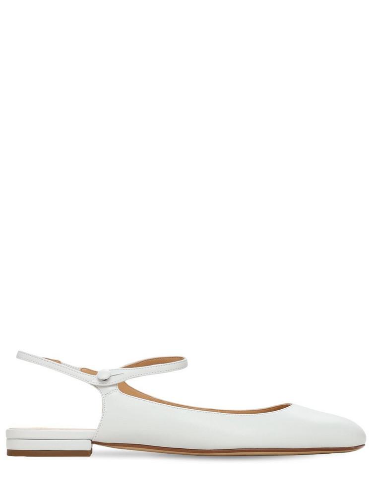 FRANCESCO RUSSO 10mm Leather Mary Jane Ballerinas in white