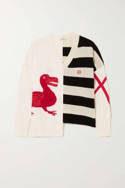 Loewe - Oversized Frayed Asymmetric Intarsia Wool-blend Sweater - Off-white