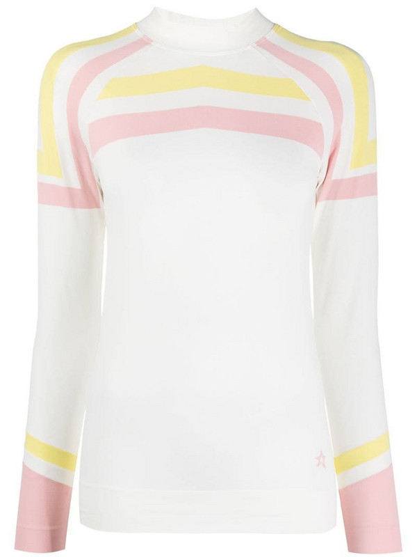 Perfect Moment Tignes striped thermal base layer top in white