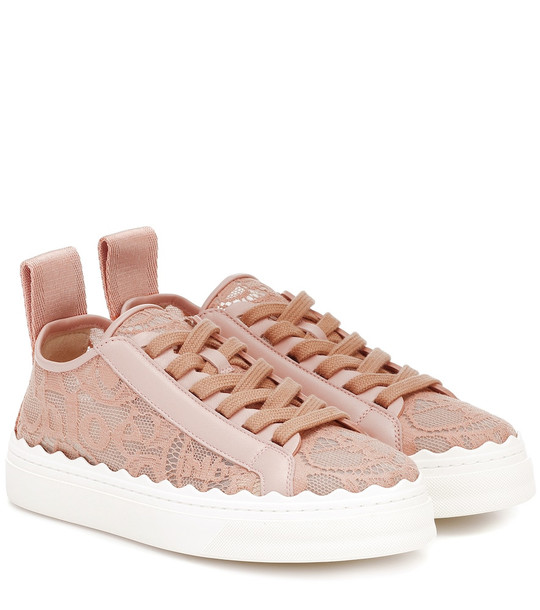 Chloé Exclusive to Mytheresa – Lauren lace sneakers in pink