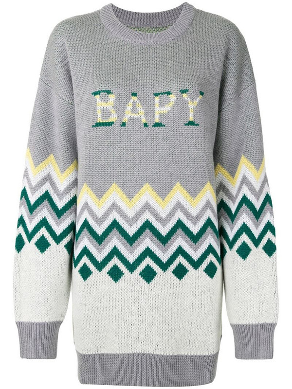 BAPY BY *A BATHING APE® zigzag-print oversized jumper in grey