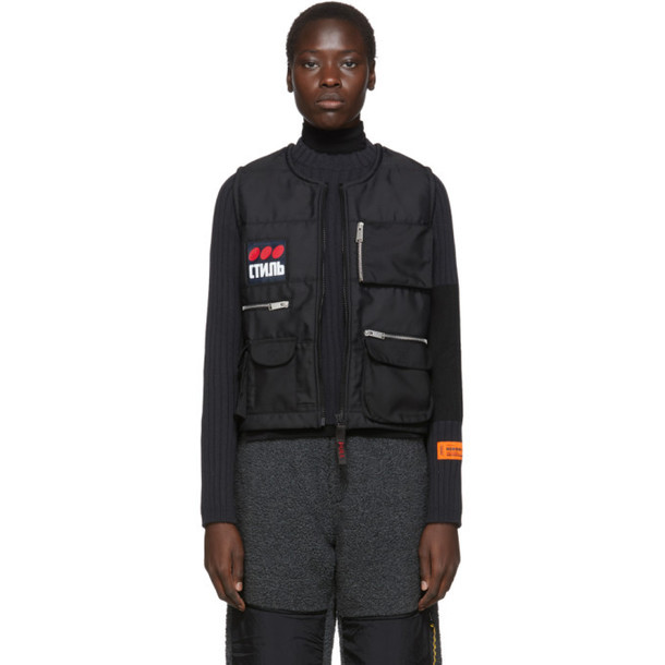 Heron Preston Black Fire Multipockets Vest