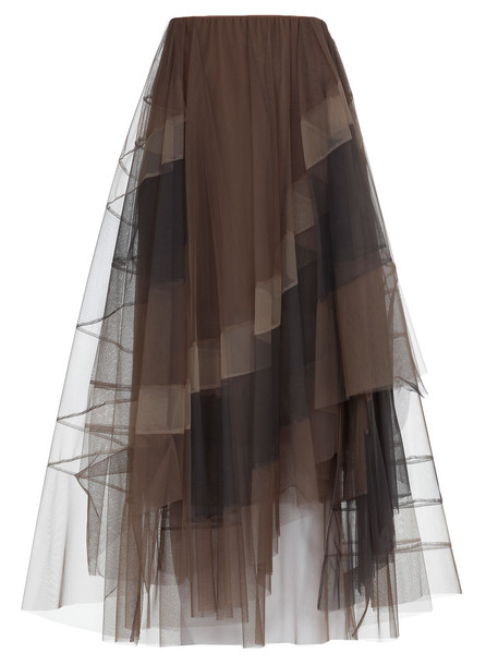 Brunello Cucinelli Tulle Skirt in brown