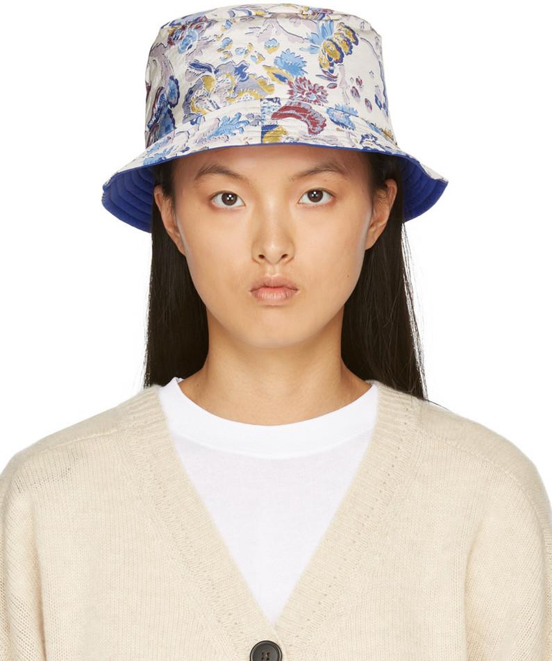 Isabel Marant Reversible Multicolor Haley Bucket Hat in ecru