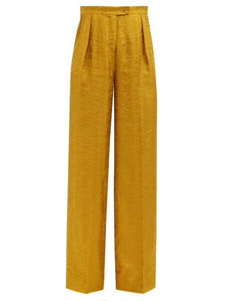 Erdem - Hortencia Paisley-jacquard Trousers - Womens - Yellow