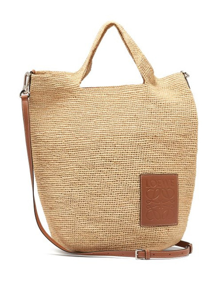 Loewe - Leather Appliqué Raffia Tote Bag - Womens - Cream