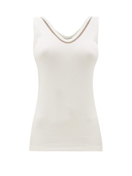 Brunello Cucinelli - Beaded Ribbed Cotton-blend Tank Top - Womens - White