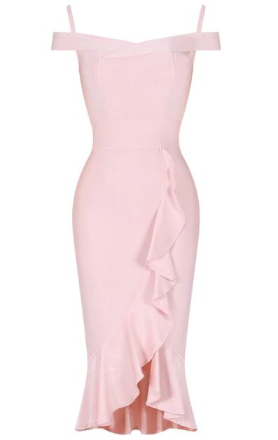 Bardot Frill Detail Midi Bandage Dress Pink