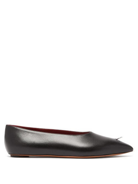 Marni - Ring Pierced Point Toe Leather Flats - Womens - Black