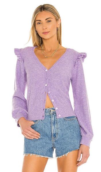 Generation Love Freesia Ruffle Sequin Cardigan in Lavender in purple / silver