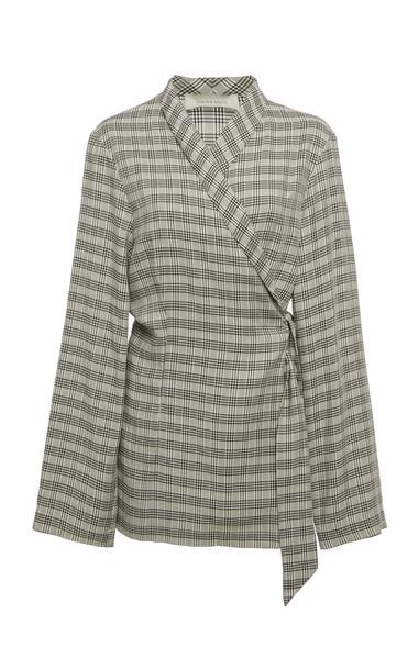 Shaina Mote Lombardi Printed Wrap Jacket in black / white