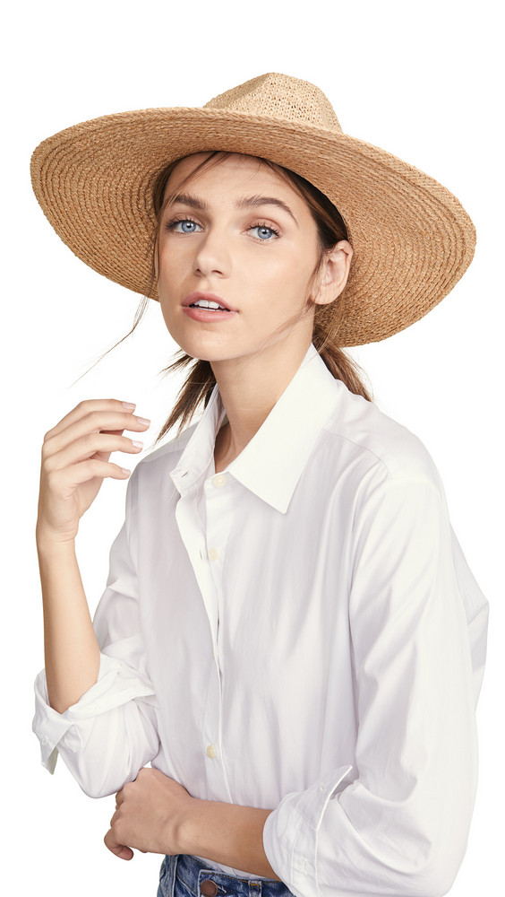 Hat Attack Mixed Raffia Continental Hat in black / natural