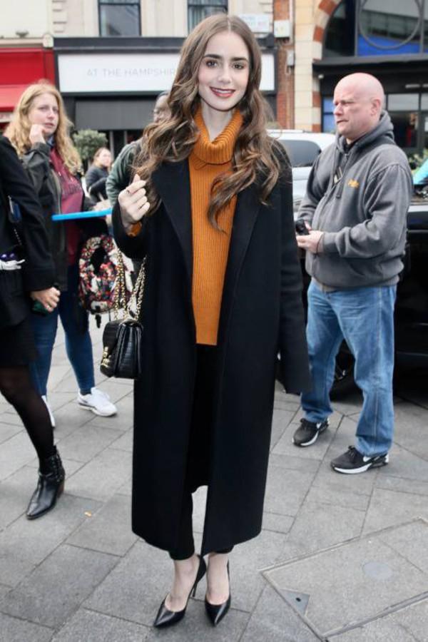 sweater turtleneck turtleneck sweater lily collins celebrity pants orange