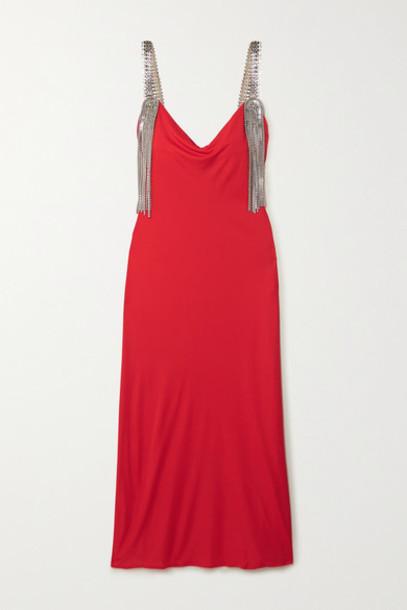Christopher Kane - Embellished Jersey Midi Dress - Red