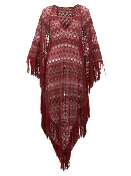 Missoni Mare - Metallic Crochet-knit Kaftan - Womens - Burgundy