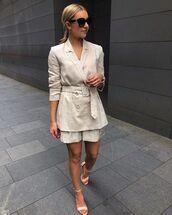 jacket,blazer,double breasted,shorts,sandals,sunglasses,nastygal