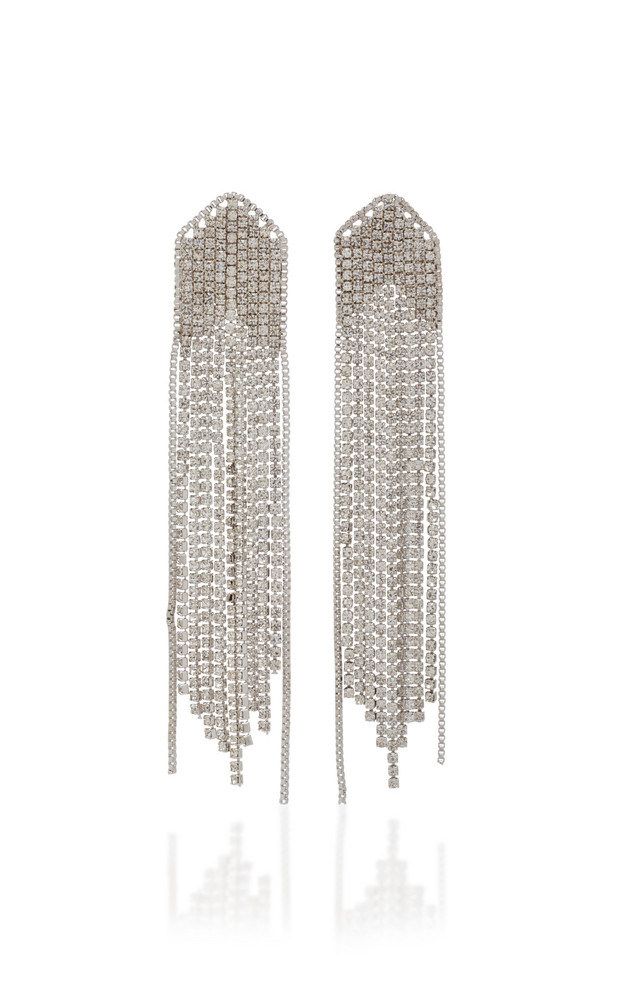 FALLON Feathered Waterfall Fringed Rhodium-Plated Crystal Earrings in silver