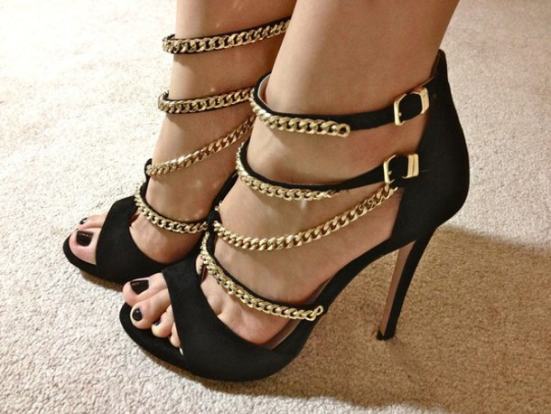 shoes clothes black and gold heels prom open toes