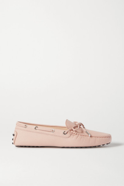 Tod's - City Gommino Lizard-effect Leather Loafers - Pastel pink