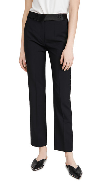 Victoria Victoria Beckham Slim Fit Wool Mohair Tuxedo Trousers in black