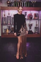 dress,asymmetrical,asymmetrical dress,celebrity,rosie huntington-whiteley,model off-duty,fringes,sandals,met gala